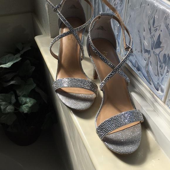 sparkly silver sandal heels